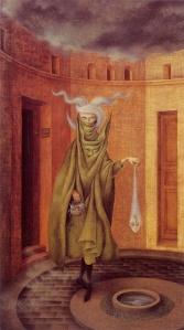 """Ilustración: """"Mujer saliendo del psicoanálisis"""", de Remedios Varo"""
